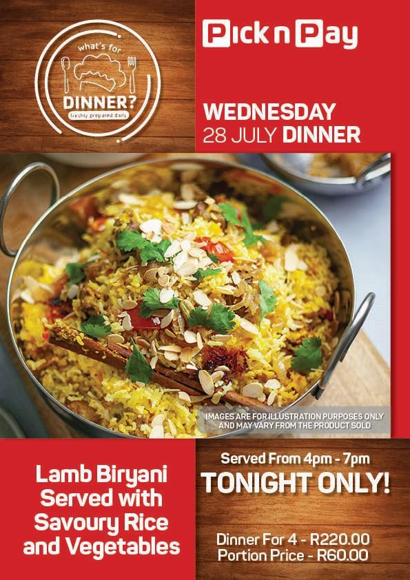 WEDNESDAY - LAMB BIRYANI WITH RICE AND VEGETABLES