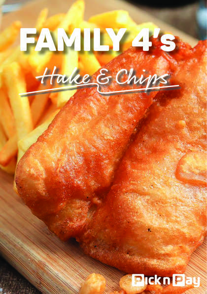 4 x FRIED HAKE AND CHIPS