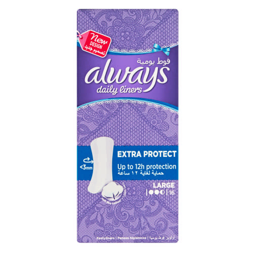 ALWAYS LINERS LARGE UNSCENTED 16EA
