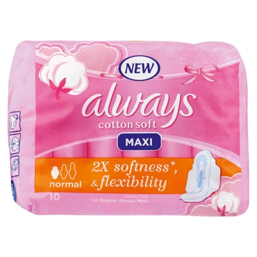 ALWAYS MAXI COTTON NORMAL PADS 10EA
