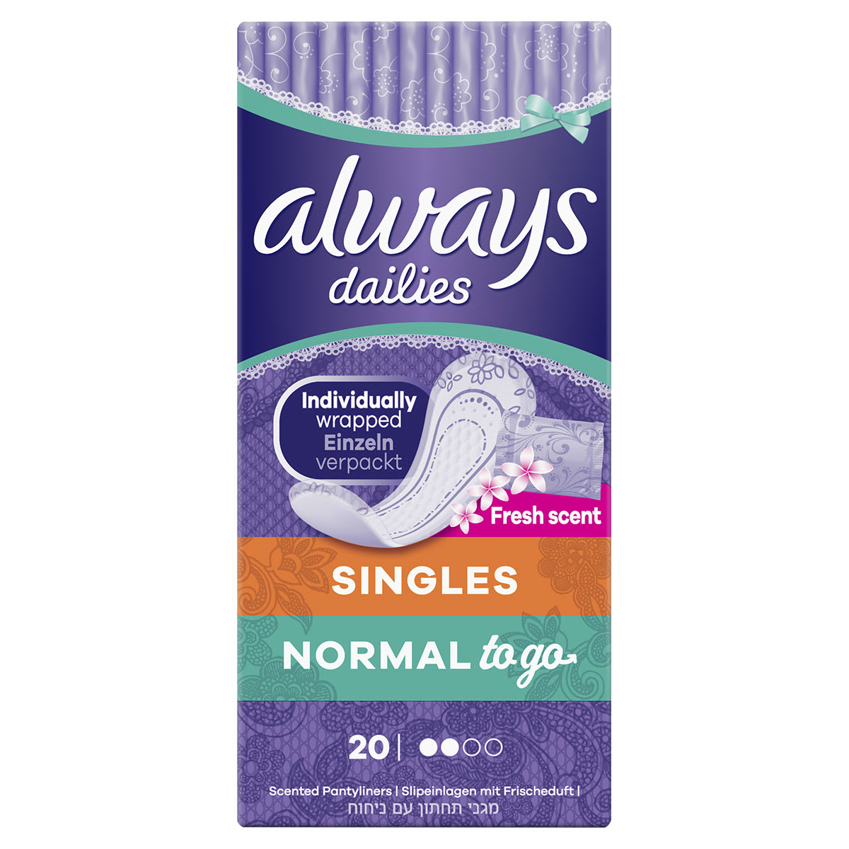ALWAYS PANTY LINERS NORMAL SCENTED 20EA