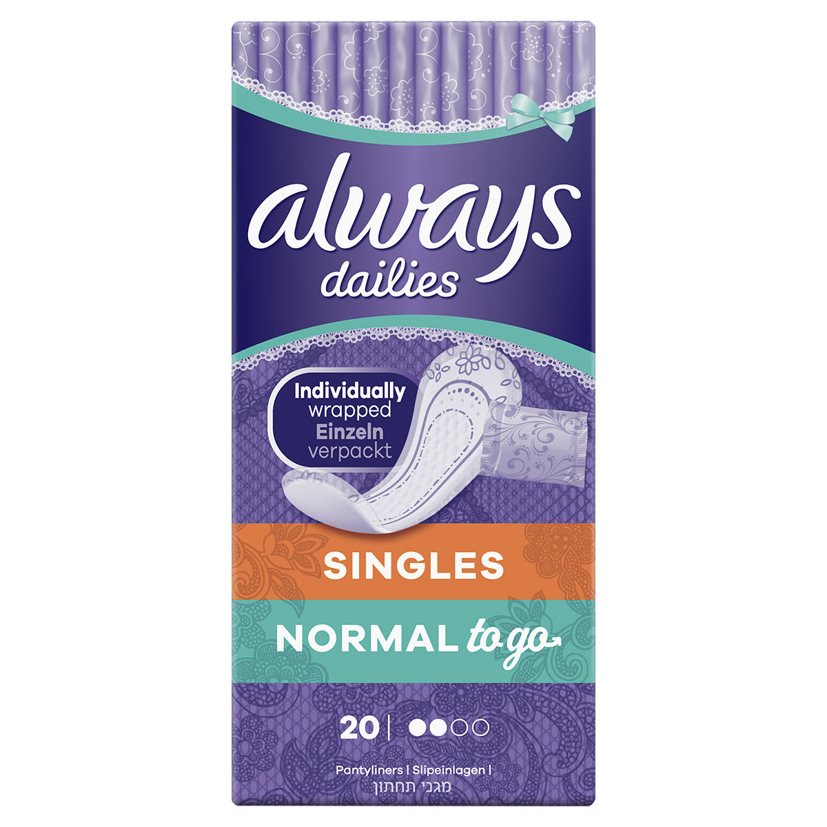 ALWAYS PANTY LINERS NORMA UNSCENTED 20EA
