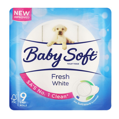 BABY SOFT T/PAPER WHITE 2PLY 9EA