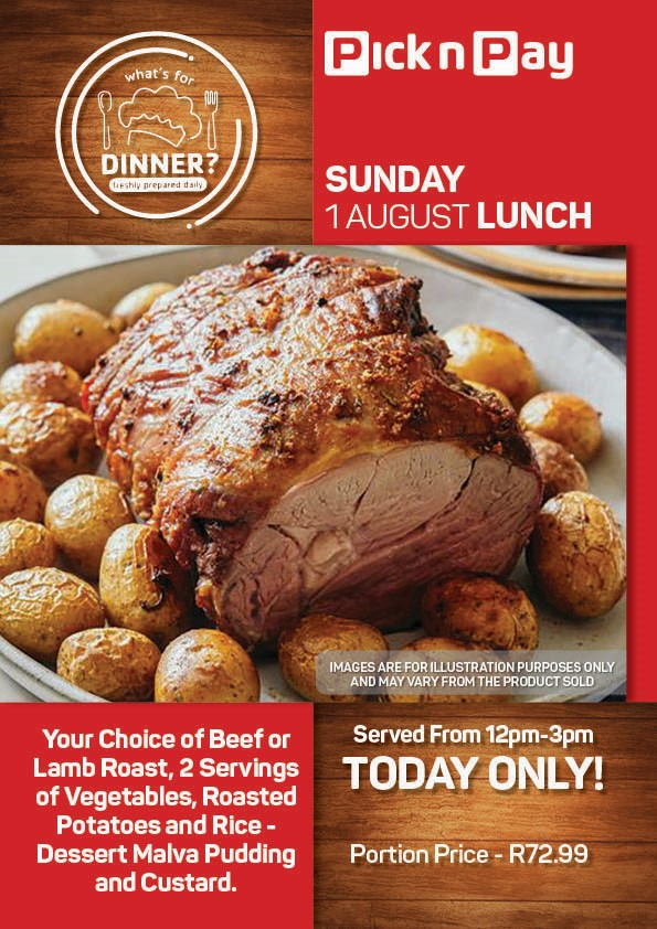 SUNDAY - BEEF OR LAMB ROAST WITH VEGETABLES, ROAST POTATOES AND RICE