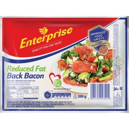 ENTERPRISE REDUCED FAT BACK BACON 200GR