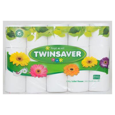 TWINSAVER TOILET ROLLS 1PLY WHITE 15EA